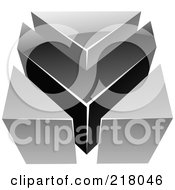 Royalty Free RF Clipart Illustration Of An Abstract Gray And Black V Or Arrow Logo Icon by cidepix