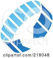 Royalty Free RF Clipart Illustration Of An Abstract Blue Circle Arrow Logo Icon by cidepix