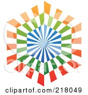 Royalty Free RF Clipart Illustration Of An Abstract Blue Orange And Green Hexagon Logo Icon