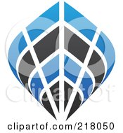 Royalty Free RF Clipart Illustration Of An Abstract Blue And Black Ship Logo Icon