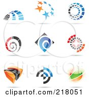 Royalty Free RF Clipart Illustration Of A Digital Collage Of Abstract Logo Icons With Shadows 19