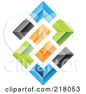 Royalty Free RF Clipart Illustration Of An Abstract Colorful Walls Logo Icon 3 by cidepix
