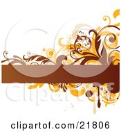 Clipart Picture Illustration Of A Blank Brown Text Bar With Orange And Brown Splatters Circles And Vines On A White Background