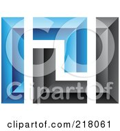 Royalty Free RF Clipart Illustration Of An Abstract Blue And Black Wall Logo Icon 6 by cidepix