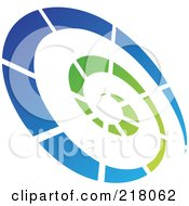 Royalty Free RF Clipart Illustration Of An Abstract Tilted Green And Blue Spiral Logo Icon