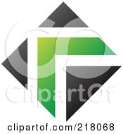 Royalty Free RF Clipart Illustration Of An Abstract Green And Black Arrow Logo Icon by cidepix