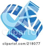 Royalty Free RF Clipart Illustration Of An Abstract Double Blue Circle Arrow Logo Icon by cidepix