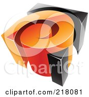 Royalty Free RF Clipart Illustration Of An Abstract 3d Orange And Black Swirl Logo Icon by cidepix