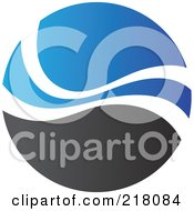 Royalty Free RF Clipart Illustration Of An Abstract Blue And Black Circular Logo 3 by cidepix