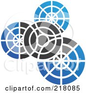 Royalty Free RF Clipart Illustration Of An Abstract Black And Blue Gear Logo Icon
