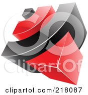 Royalty Free RF Clipart Illustration Of An Abstract 3d Red And Black RSS Logo Icon