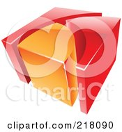 Royalty Free RF Clipart Illustration Of An Abstract 3d Cubic Orange And Red Logo Icon
