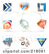 Royalty Free RF Clipart Illustration Of A Digital Collage Of Abstract Logo Icons With Shadows 12