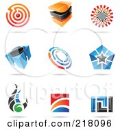 Royalty Free RF Clipart Illustration Of A Digital Collage Of Abstract Logo Icons With Shadows 16