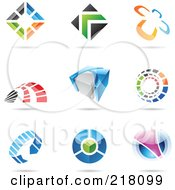 Royalty Free RF Clipart Illustration Of A Digital Collage Of Abstract Logo Icons With Shadows 15