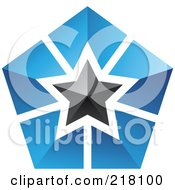 Royalty Free RF Clipart Illustration Of An Abstract Blue And Black Star Logo Icon 2 by cidepix