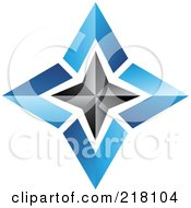 Royalty Free RF Clipart Illustration Of An Abstract Blue And Black Star Logo Icon 3 by cidepix