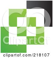 Abstract Green White And Black Cubic Logo Icon Background