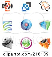 Royalty Free RF Clipart Illustration Of A Digital Collage Of Abstract Logo Icons With Shadows 14