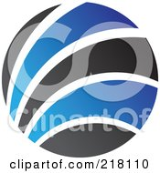 Royalty Free RF Clipart Illustration Of An Abstract Blue And Black Circular Logo 2 by cidepix