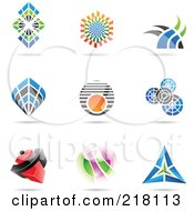 Royalty Free RF Clipart Illustration Of A Digital Collage Of Abstract Logo Icons With Shadows 17
