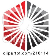 Royalty Free RF Clipart Illustration Of An Abstract Red And Black Sunburst Hexagon Logo Icon