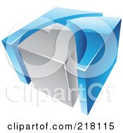 Royalty Free RF Clipart Illustration Of An Abstract 3d Cubic BlueAnd Gray Logo Icon