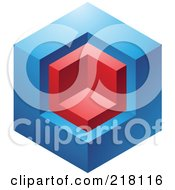 Royalty Free RF Clipart Illustration Of An Abstract Blue And Red Cube Logo Icon