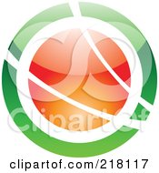 Royalty Free RF Clipart Illustration Of An Abstract Green And Orange Orb Logo Icon