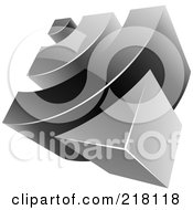 Royalty Free RF Clipart Illustration Of An Abstract 3d Black And Gray RSS Logo Icon