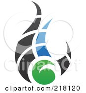 Royalty Free RF Clipart Illustration Of An Abstract Blue Green And Black Fire Logo Icon 2 by cidepix