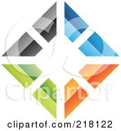 Royalty Free RF Clipart Illustration Of An Abstract Colorful Walls Logo Icon 5 by cidepix