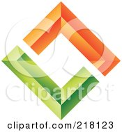 Royalty Free RF Clipart Illustration Of An Abstract Orange And Green Diamond Wall Logo Icon by cidepix