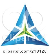 Royalty Free RF Clipart Illustration Of An Abstract Blue And Green Pyramid Or Triangle Icon