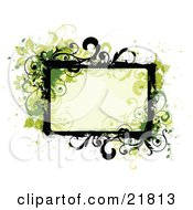 Clipart Picture Illustration Of A Pale Green Text Box With Green And Black Frames And Flowers On A White Background
