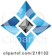 Royalty Free RF Clipart Illustration Of An Abstract Blue And Black Pyramid Logo Icon 1