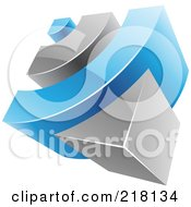 Royalty Free RF Clipart Illustration Of An Abstract 3d Blue And Gray RSS Logo Icon