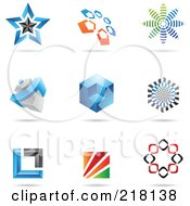 Royalty Free RF Clipart Illustration Of A Digital Collage Of Abstract Logo Icons With Shadows 2