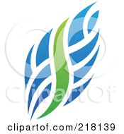 Royalty Free RF Clipart Illustration Of An Abstract Blue And Green Fire Logo Icon by cidepix