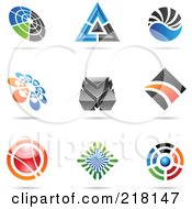Royalty Free RF Clipart Illustration Of A Digital Collage Of Abstract Logo Icons With Shadows 23