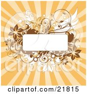 Clipart Picture Illustration Of A Blank White Text Box With Brown And White Flowers Circles Splatters And Vines Over A Bursting Orange Backgroun