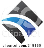 Royalty Free RF Clipart Illustration Of An Abstract Blue And Black Diamond And Path Logo Icon 1
