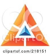 Royalty Free RF Clipart Illustration Of An Abstract Orange Pyramid Or Triangle Icon With A Blue Top