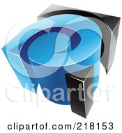 Royalty Free RF Clipart Illustration Of An Abstract 3d Blue And Black Swirl Logo Icon by cidepix