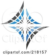 Royalty Free RF Clipart Illustration Of An Abstract Blue And Black Diamond Or Web Logo Icon