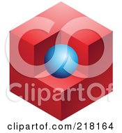 Royalty Free RF Clipart Illustration Of An Abstract Blue Sphere And Red Cube Logo Icon