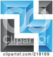 Royalty Free RF Clipart Illustration Of An Abstract Blue And Black Wall Logo Icon 7 by cidepix