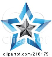 Royalty Free RF Clipart Illustration Of An Abstract Blue And Black Star Logo Icon 1