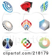 Royalty Free RF Clipart Illustration Of A Digital Collage Of Abstract Logo Icons With Shadows 3