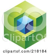 Royalty Free RF Clipart Illustration Of An Abstract Green And Blue Cube Logo Icon by cidepix